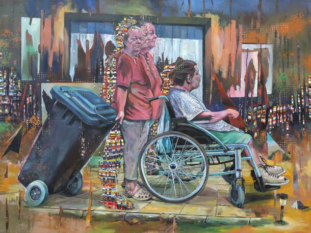 Koppany Arnyas 2018 Daily rutine 170x130 akril canvas